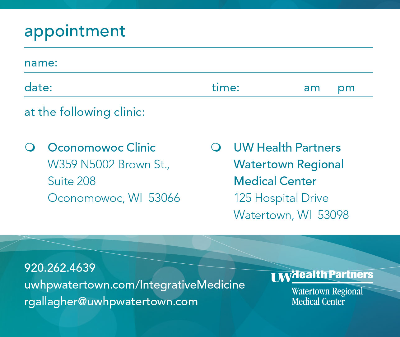 Integrative Medicine appointment card
